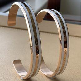 weißgold armband graviert Rabatt 4 teile / los neue breite dw armbänder manschette mit weißen streifen 100% titanium stahl gravierte logo buchstaben armband für frauen männer geschenk
