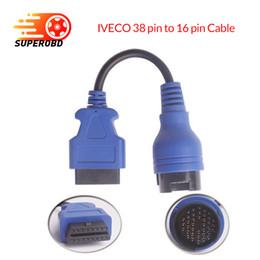 2019 versand ps2 Blaues PS2 38pin LKW-Kabel OBD1 zum obd2 16pin Leitungsdiagnoseschnittstelle für Iveco 38 Stift OBDII Verlängerungskabel führen Freies Verschiffen rabatt versand ps2