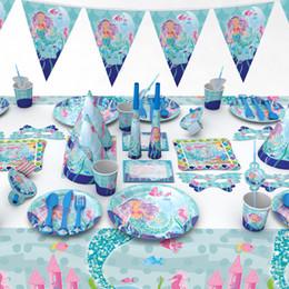 Mermaid Party Baby Shark Compleanno Decorazione Decorazione Forniture Maschera Torta Forcella Piatto Coppa Paglia Baby Shower per feste da