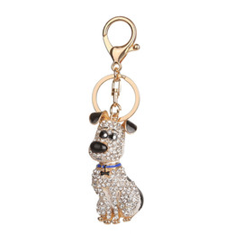 Llavero perro caliente online-Corea del Sur Hot Crystal Puppy Dog Keychain Llavero Trinket Purse Bag Car Keychain Ornamento de la boda
