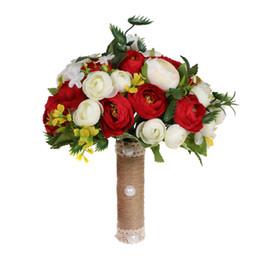 2019 bolsas de alfombra al por mayor RedBeige dama de compañía artificial de la boda de novia de seda Rose Bouquet fiesta en casa Flor Decoración de la mesa Accesorios de boda