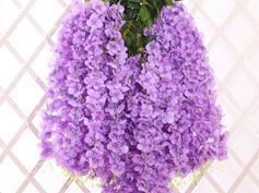 seda blanca planta de glicina boda Rebajas Wisteria blanco Garland colgantes 5pcs Flores para la Ceremonia al aire libre de la boda Decoración planta falsa seda Wisteria Viña Arco de la boda decoración floral