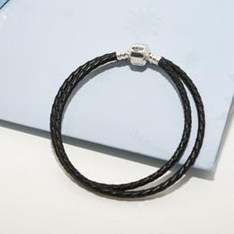 Luxus Designer Schmuck Frauen Armbänder Schwarz Echt Doppelschicht Leder Seil Herren Armbänder für Pandora 925 Silber Charms Lederarmband von Fabrikanten
