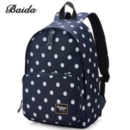 Baida marca negro lunares mochila mochila mochila de moda de alta calidad estudiante de la escuela mochilas para niñas adolescentes # 222373 desde fabricantes