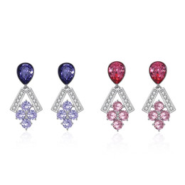 traubenohrringe Rabatt Elegante Lady Crystals aus Österreich Tropfen Ohrringe 925 Sterling Silber Feine Strass Traube Bündel Ohrringe für Party Frauen
