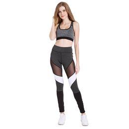 670952692a91d Mesh Insert Leggings Black White Splice Casual Leggins Women Fitness Leggings  Color Block Spring Summer Workout High Waist Pants