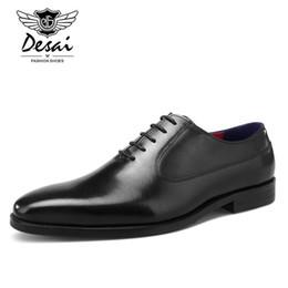 9fc9bf476c Sapatos formais dos homens de couro genuíno oxfords italiano artesanal preto  business dress sapatos de casamento lace up bezerro couro partido sapatos  de ...