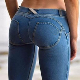 Sexy vaqueros pitillo caderas online-Sexy mujeres Casual Jeans Skinny Lift Butt Leggings Bodycon cintura baja pantalones de mezclilla Push Up Hip Lápiz Lift Jeans mujeres High Street Y190429
