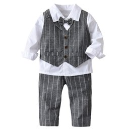 924ef88fda191 good quality Kids clothes boys 4PC Baby Boy Bowtie Gentleman Vest T-Shirt  Pants Wedding Suit Cloth Sets conjunto menino roupas
