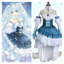 Anime pelucas vocaloid online-Vocaloid 2019 Hatsune Miku Girls vestido de princesa azul Miku Cosplay traje falda de la nieve peluca rizada coleta regalo de peluche Rbbit