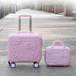 olá kitty caixas de presente Desconto Desenhador-Hello Kitty Cabana Mala Bagagem set Mulheres Criança Saco de Presente, Encantador dos desenhos animados Trip caso, Universal Rodas Trolley Caixa