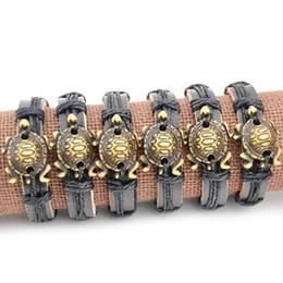 Brazalete de hueso online-Venta al por mayor lote 12 unids imitación hueso tallado tortugas marinas colgantes Surf cuero pulsera brazaletes regalo MB81