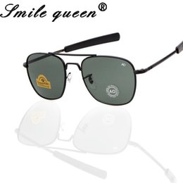 marcas de gafas de sol militares Rebajas 2016 más nuevo marco MILITAR AO Marca Gafas de sol de los hombres de cristal óptico de la lente del metal de la aleación piloto Gafas de sol Gafas de Sol Masculino