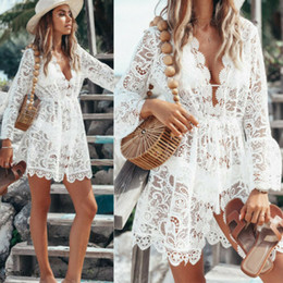 woman white feather dress Promo Codes - 2019 New Summer Women Bikini Cover Up Floral Lace Hollow Crochet Swimsuit Cover-Ups Bathing Suit Beachwear Tunic Beach Dress Hot
