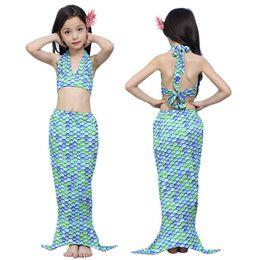 antichi costumi romani Sconti 3PCS Bambini Mermaid Tail Princess Dress Neonate Bambini Balneazione Split Costume da bagno Costume da bagno Bikini Fancy Dress Clothes