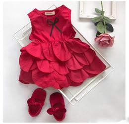 2019 Estate nuovi bambini rossi petali orlo rosso torta vestito ragazze nastro Archi cravatta maglia vestito da principessa per bambini festa abiti da festa da