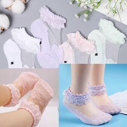 Calzini bianchi delle ragazze del bambino online-Lace Girls Baby Princess Kids Calzini alla caviglia Frilly Infant Girl Toddler Pink White