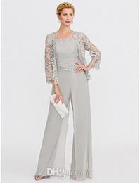 78ae2bb6bfa 2019 vestes élégantes pour femmes Costume pantalon de mère élégante avec la  veste de dentelle longueur