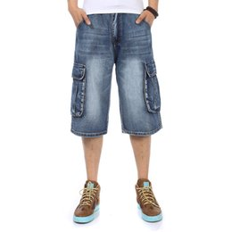 Мужские джинсы с синими джинсами онлайн-2018 NEW Brand Mens Big size Loose baggy Short jeans for men boy's Hip Hop Skateboard pants for Rappers Rap trousers blue hiphop