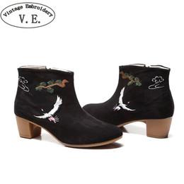 Bordado de la vendimia de Las Mujeres Botines Zip Up Bloque Zapatos de Tela de Tacón de Lona Casual Bota Feminina Botas Mujer desde fabricantes