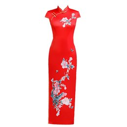 Roupas senhoras chinesas on-line-Plus Size 4XL 5XL Chinês Tradicional das Mulheres Elegantes Longo Senhora Qipao Silm Vestido Feminino Oriental Cheongsam Sexy Vestido de Roupas