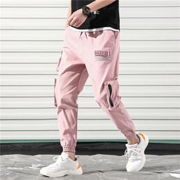 Rosa calças homens on-line-Harajuku Algodão Hip Hop Carga Calças Dos Homens Cor De Rosa Harém Pants Bolsos Mens Streetwear Coreano Moletom Corredores Moletom Homem Calças
