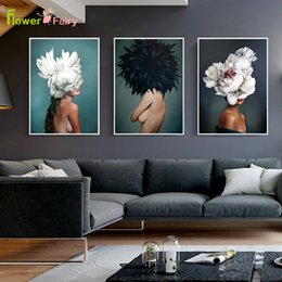 flowers posters canvas Promo Codes - Abstract Painting Plants Flower Beauty Lady Posters And Prints Wall Art Canvas Painting Girl For Living Room Modern Unframed
