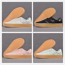 new styles c9c88 b15f7 2018 New Sambarose Mid Cut Sock Shoes For Men negro blanco AQ1134 Light  Brown B28156 Knit zapatillas Samba Sneakers de calidad superior