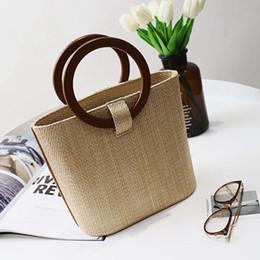 55c50a4b3 2019 sacos feitos à mão bolsas Mulheres Handmade Palha Redonda Handle  Handbag Ocasional De Madeira Sacos