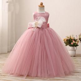 i vestiti dolci della ragazza del fiore di tulle Sconti Abiti da ballo rosa impreziosita da ragazza in tulle per bambini Abiti da cerimonia per la festa nuziale di compleanno