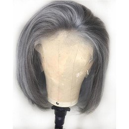 cut parting wig Coupons - Grey Human Hair Lace Front Wigs Glueless Brazilian Gray Pre Plucked Full Lace Wig Silver Short Bob Cut Lace Front Wigs Free part