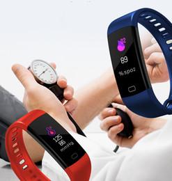 2020 pista intelligente Più nuovo Y5 Bluetooth Smart Bracelet Bracciale Frequenza cardiaca Monitor per la pressione sanguigna Smart Band Schermo a colori Donna Uomo Sport Fitness Track Pedometer sconti pista intelligente