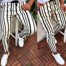 hip hop calça casual stripe Desconto Homem Calças 2019 Marca New Mens Skinny Slim Fit Listra Inferior Casual Calças Altas Com Bolsos de Treino Hip Hop Calças 8J0867