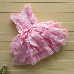 Rosa rosette blumenmädchen kleider online-Hochwertige Rosengarten rosa Rosette Seidenkleid Ostern Blume Baby Mädchen Hochzeit neu + Stirnband