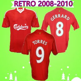 torres soccer jerseys Coupons - 2008 2010 RETRO soccer jerseys home red 08 10 classic vintage football shirts KEANE GERRARD TORRES MASCHERANO NEMETH BABEL PACHECO KYRGIAKOS