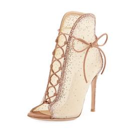 Modello di scarpe da ballo online-Pizzo strass tacco alto via discoteca discoteca modello passerella sexy scarpe da ballo a spillo croce cinghie sandali delle donne spedizione gratuita