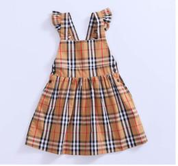 2019 anos vestido de modelo bebê bebê Moda Infantil Vestidos Baby Girl Nova Marca Vestido de Verão Listrado Strap Vestidos com Lace Girl Inglaterra Estilo A Linha de Vestidos Roupas Meninas