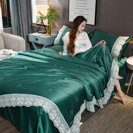 Сплошное серое постельное белье онлайн-3шт 4шт Nordic Style Silk комплект постельных принадлежностей Queen Size Satin Gray пододеяльник Solid Color Set Простые Кружева постельное белье постельное белье