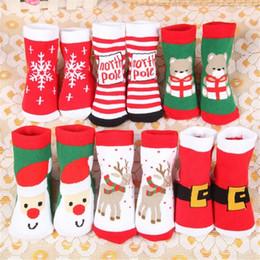 le ragazze di anni vecchie calze Sconti 1-5 anni Cotone Primavera Inverno Autunno Neonate Ragazzi Calzini per bambini Bambini a strisce Terry Fiocco di neve Alci Babbo Natale Orso di Natale FJ439
