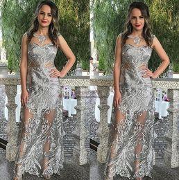vestido formal patrón de encaje Rebajas ziad nakad 2019 Vestidos de baile apliques de encaje de astilla pura Diseño de patrón especial Ropa formal Vestidos de fiesta Vestidos de noche árabes sauditas Baratos