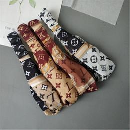 Stampa di seta di bandana online-Fascia per capelli in seta imitazione con elastico da donna Cintura per cappelli da stilista 4 colori Whoelsale MFJ590