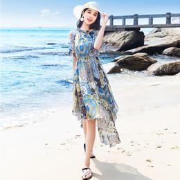 calças boémias emagrecedoras Desconto Verão Atacado mulheres novo saia férias na praia à beira-mar feminino vestido boêmio 2019 strapless Super fada vestido de chiffon fina longa skirt07