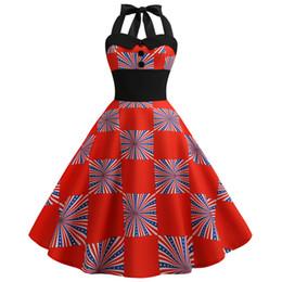 Swing americano online-Donna American Flag Print Evening Party Prom Swing Button Halter Hepburn Dress 123
