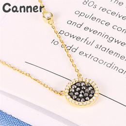 sterling silver choker collar Promo Codes - Canner Geometric Zircon Choker Necklaces 925 Sterling Silver Black Rhinestone Necklace For Women Collar Mujer Jewelry Gifts A20