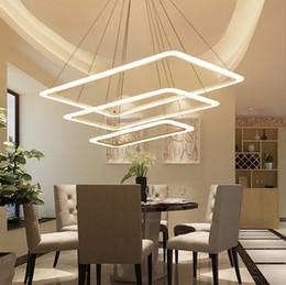 Candelabros para salas de reuniones online-Minimalista moderno rectangular LED hogar sala de estar comedor dormitorio araña de luces Hotel Oficina Sala de reuniones Café Iluminación LLFA