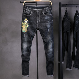 peacock flying Coupons - Street Ripped Beggar Jeans Men Slim Fit peacock Flower Embroidery Long Trousers Summer Straight Strechy Spliced Denim Pants