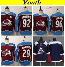 Youth Colorado Avalanche 2019 29 Nathan MacKinnon 92 Gabriel Landeskog 96  Mikko Rantanen Hockey Jerseys Kids Girls Boys Stitched Shirts 33df0ebdf