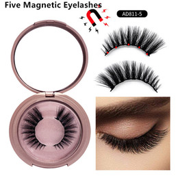 conjunto de cílios postiços Desconto Five Magnetic lashes With mirror Box 5 Magnetic eyelashes Natural False Eyelashes fake eyelash makeup set