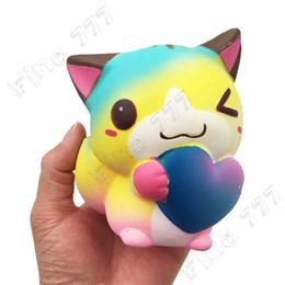 Bolsa de gato al por mayor online-JUMBO squeeze rainbow cat raro squishy Suave juguete de la PU aumento lento squishy food niños regalo al por mayor con bolsas al por menor