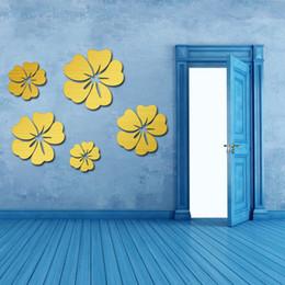 Wandgröße wandmalereien online-Big Size 3D-Spiegel-Wand-Aufkleber-Blumenkunst-entfernbarer Wand-Aufkleber Acryl-Wandabziehbild-Hauptdekor Raumdekoration Droship DHL HH9-2668